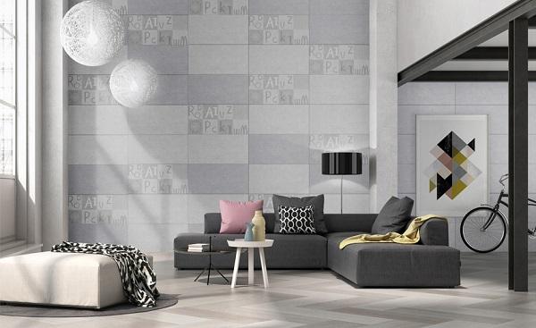 Sử dụng gạch lát nền và gạch ốp tường phòng khách màu ghi