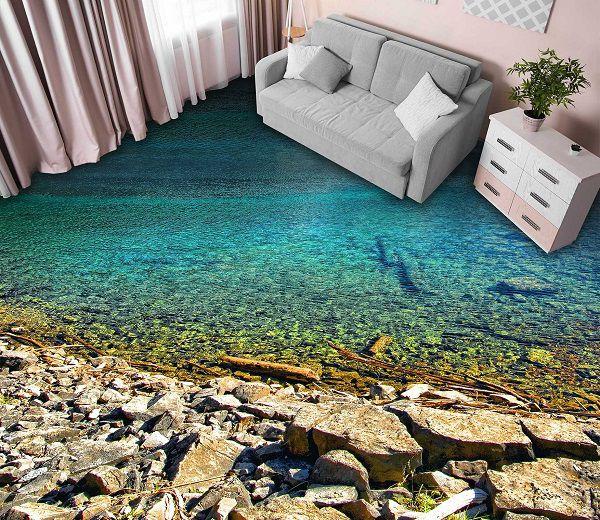Phòng khách lát gạch 3d cảnh bờ biển đẹp mắt