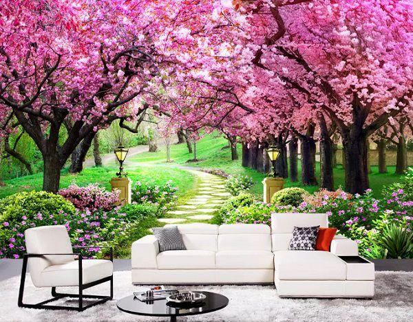 tranh gạch 3d phong cảnh hoa anh đáo ốp tường
