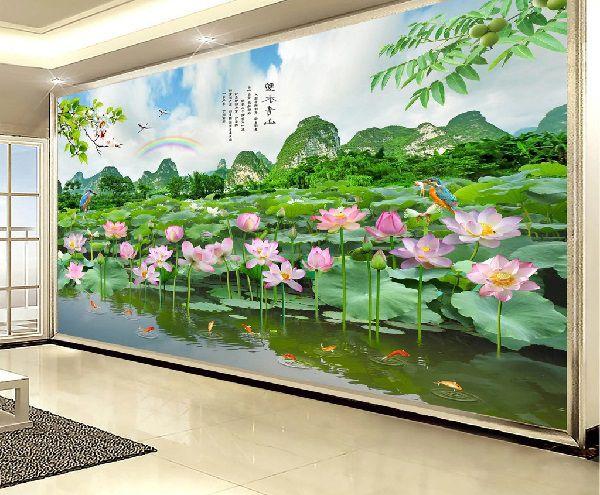 Tranh gạch 3d phong cảnh hoa sen đẹp mắt