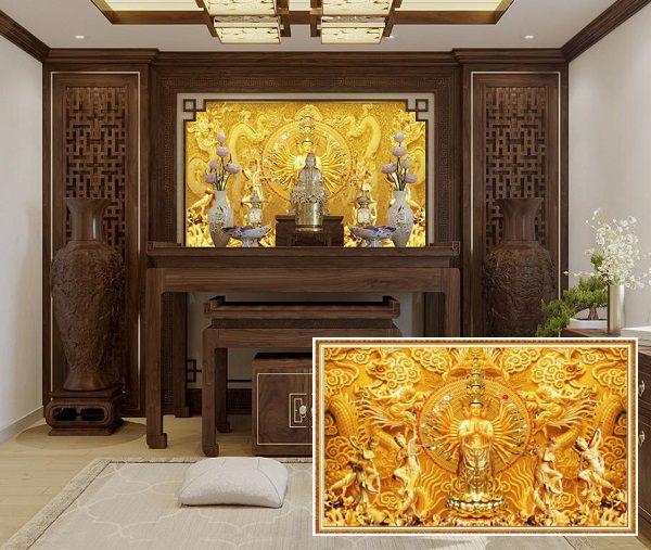 Mẫu tranh gạch 3d phòng thờ Phật bà