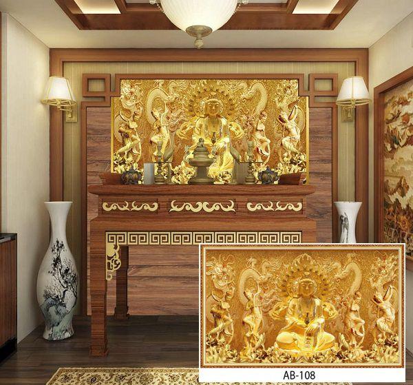Mẫu tranh gạch 3d phòng thờ Phật dát vàng đẹp mắt