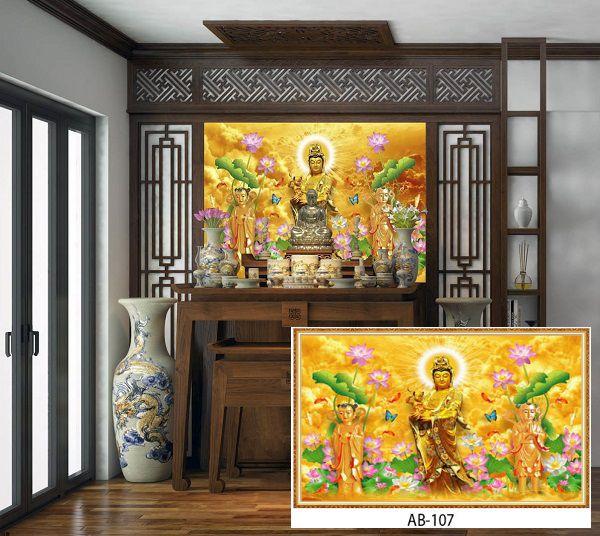 TOP mẫu tranh gạch 3D phòng thờ Đẹp, vượng Tài lộc